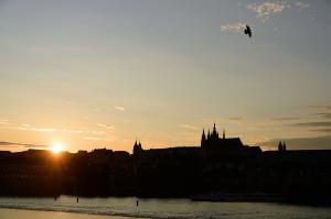 プラハ城夕景